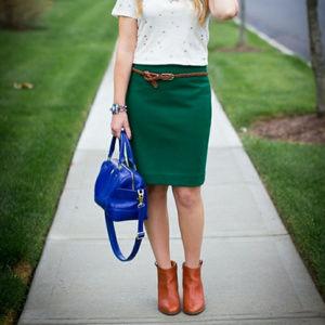 """J. CREW """"The Pencil Skirt"""" wool evergreen skirt"""